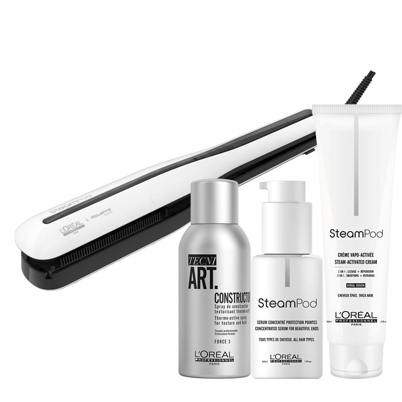 L'Oréal Steampod 3.0 Bundel: Steampod, Smoothing Cream (dik haar), Protecting Concentrate, TecniArt Constructor